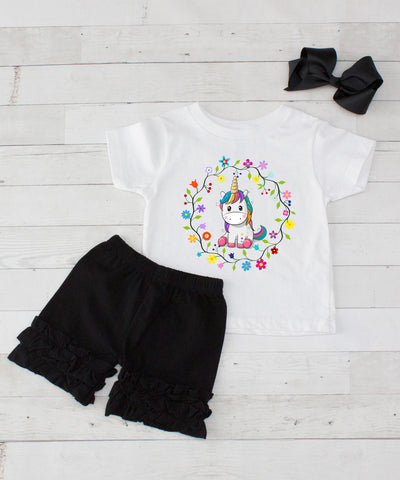 Baby Unicorn Wreath - 3pc Shirt and Black Short Set