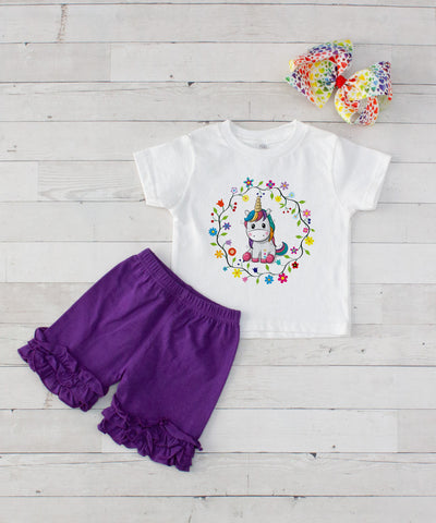 Baby Unicorn Wreath - 3pc Shirt and Purple Short Set