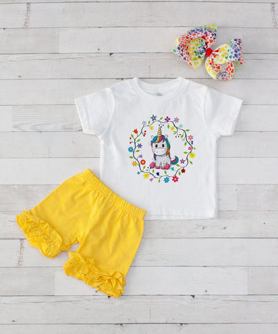 Baby Unicorn Wreath - 3pc Shirt and Yellow Short Set