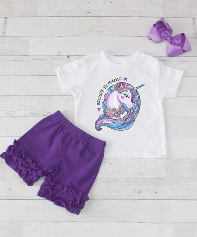 Believe In Magic Unicorn - 3pc Shirt and Purple Short Set