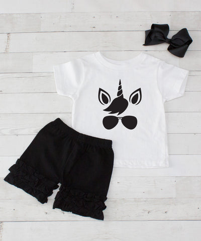 Cool Unicorn - 3pc Shirt and Black Short Set