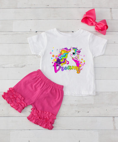 Rainbow Dreamy Unicorn - 3pc Shirt and Hot Pink Short Set
