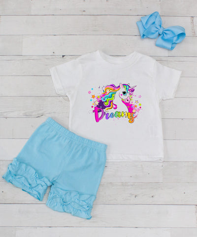 Rainbow Dreamy Unicorn - 3pc Shirt and Light Blue Short Set