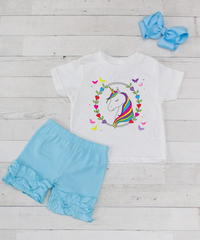 Rainbow Unicorn in Heart Wreath - 3pc Shirt and Light Blue Short Set