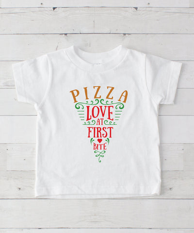 Pizza Love At First Bite Graphic T-Shirt