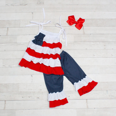 Little Miss USA 2 Piece Red, White & Blue Ruffle Outfit - Top & Capris