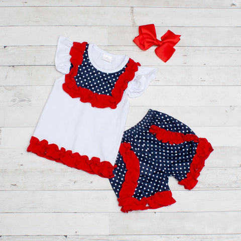 Americana Top & Matching Short Set - Red, White & Blue Stars & Stripes