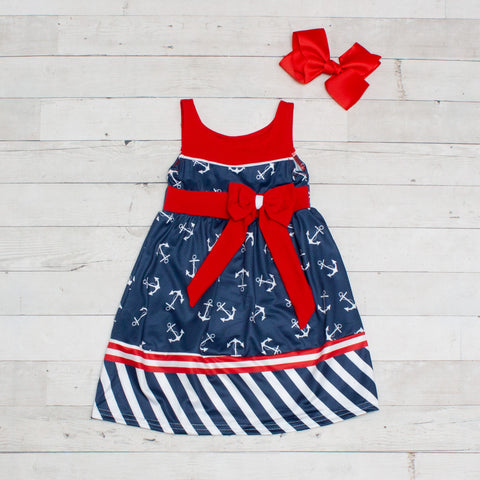 Anchors Away Dress - Navy, White & Red with Anchors & Stripes