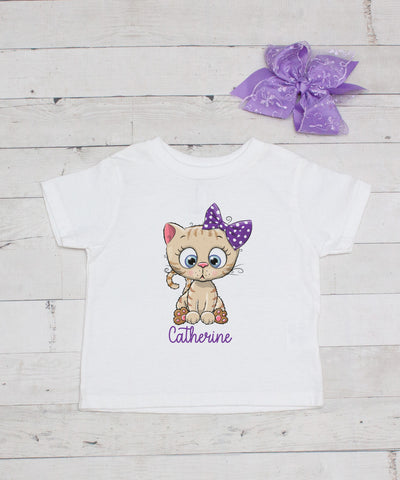 Personalized Cute Little Purple Bow Kitty - Graphic T-Shirt & Bow Set