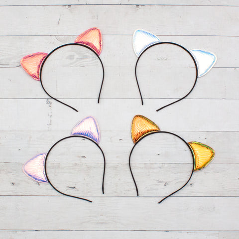 Iridescent Cat Ear Headbands - 4 Colors to Choose from