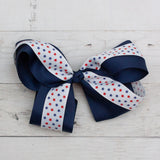 "6"" Patriotic Polka Stars Hair Bow Clip - 3 Choices"