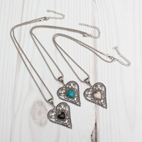 Antique Filigree Heart Semiprecious Stone Silver Necklace - 3 Colors