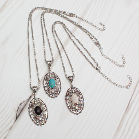 Antique Filigree Oval Semiprecious Stone Silver Necklace - 3 Colors