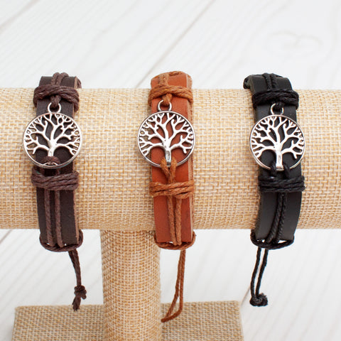 Tree of Life Leather Band Bracelet - 3 Colors