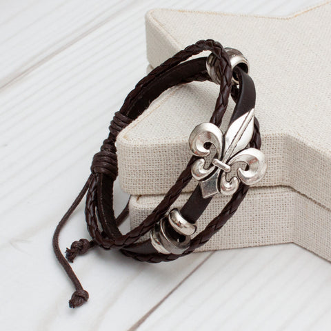 Fleur-de-lis Triple Band Leather Bracelet - 3 Colors