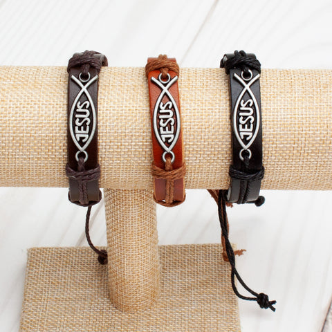 Jesus Ichthys Leather Band Bracelet - 3 Colors