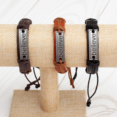 Believe Leather Band Bracelet - 3 Colors