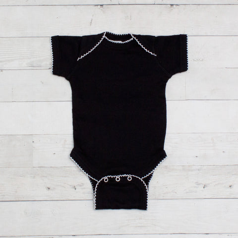 Short Sleeve Picot Cotton Bodysuits - 2 Colors