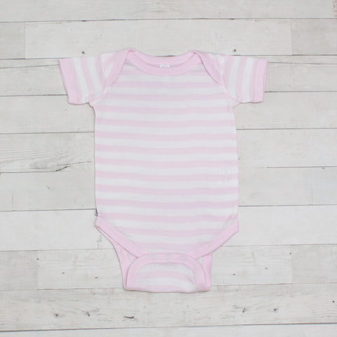 Pink & White Short Sleeve Striped Cotton Bodysuit
