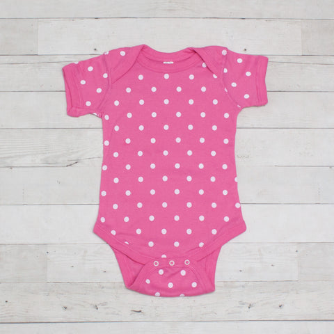 Pink & White Short Sleeve Polka Dot Cotton Bodysuit