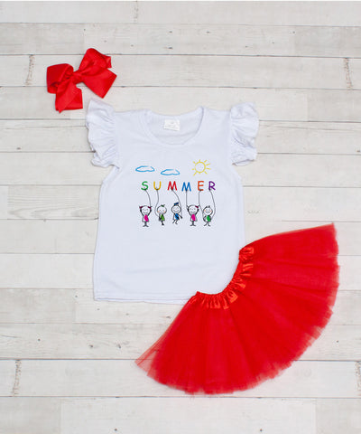 Summer - 3pc T-Shirt and Red Tutu Set