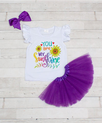 You Are My Sunshine - 3pc T-Shirt and Purple Tutu Set