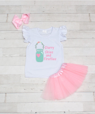 Starry Skies and Fireflies - 3pc T-Shirt and Light Pink Tutu Set