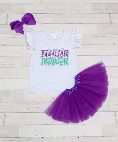 Flower Power - 3pc T-Shirt and Purple Tutu Set