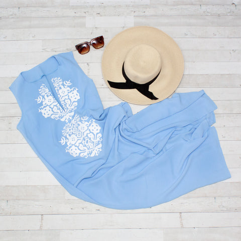 Light Blue Casual Geometric Summer Dress