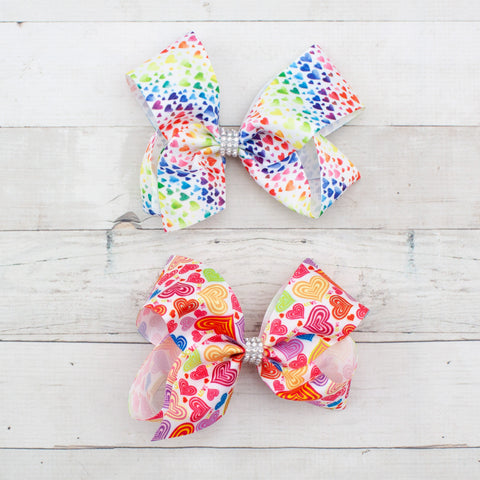 "6"" Rainbow Hearts Grosgrain Big Hair Bow Clip - 2 Choices"
