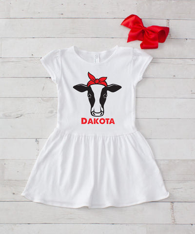 Girl Cow with Red Bow Personalized White Jersey Dress - 2pc Dress & Bow Set