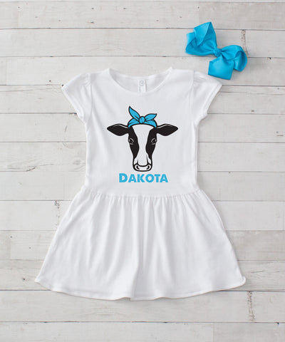 Girl Cow with Turquoise Bow Personalized White Jersey Dress - 2pc Dress & Bow Set
