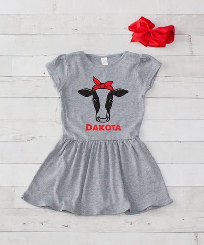Girl Cow with Bow Personalized Gray Jersey Dress - 2pc Dress & Bow Set