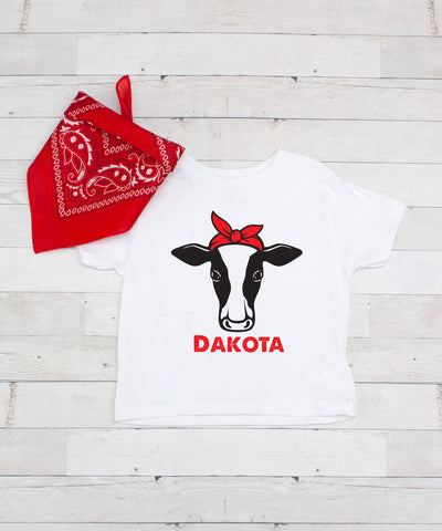 Girl Cow with a Bow - Personalized Graphic T-Shirt & Bandanna Set