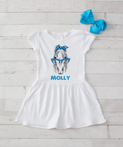 Girl Horse with Turquoise Glasses Personalized White Jersey Dress - 2pc Dress & Bow Set