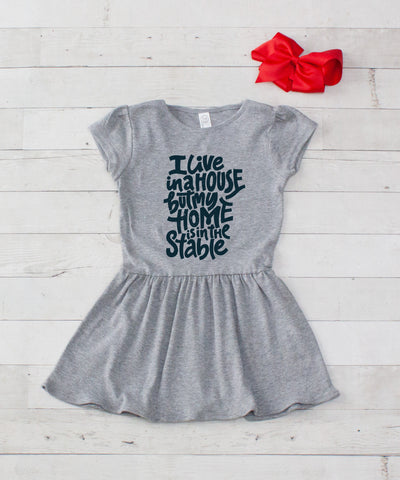 I live in a House.. Gray Jersey Dress - 2pc Dress & Bow Set