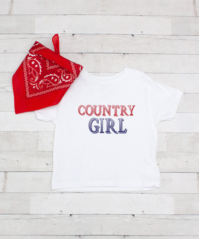 Red, White & Blue Country Girl - Graphic T-Shirt & Bandanna Set