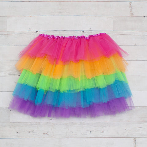 Five Layer Rainbow Elastic Dance Tutu for Tweens