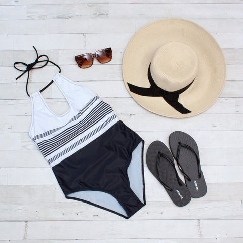 White & Black Striped Halter Top 1 Piece Swimsuit