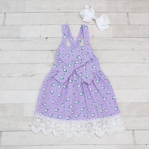 Girls Lavender & White Floral Print Sleeveless Dress