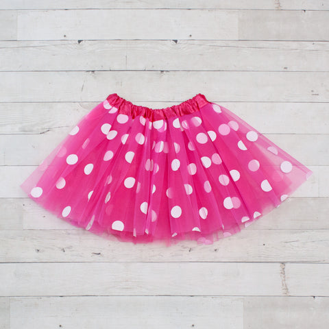 Girls Large Polka Dot Elastic Dance Tutu - 3 Colors