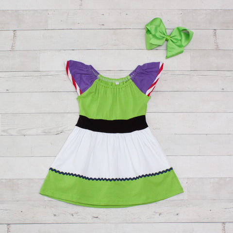 Girls Space Ranger Character Inspired Dress - Buzz Lightyear