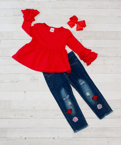 Red Long Sleeve Ruffle Top and Denim Pant Set - Top & Pants