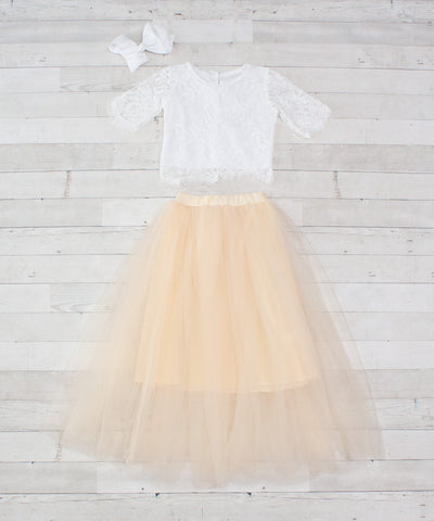 Lace Top/Tulle Skirt 2-pc - 7 Colors