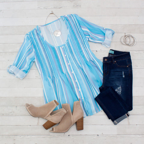 Striped Pleated Button Front Tunic - 3 Colors