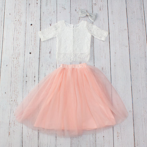 Lace Top/Fully-Lined Tulle Skirt 2-pc - 10 Colors