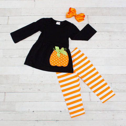 Black, Orange and White Pumpkin 2 Piece Outfit