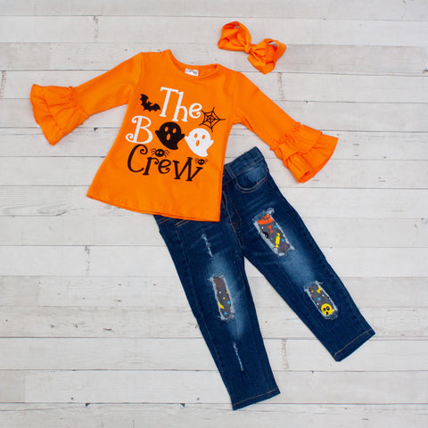 Orange Boo Crew Top with Ruffle Sleeve and Denim Pant Set
