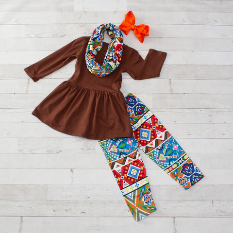 Brown, Orange and Blue Boho 3 Piece Tunic Set - Top, Pants & Scarf