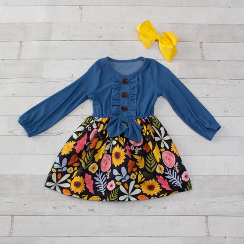 Long-Sleeve Denim-Look Dress with Flowers